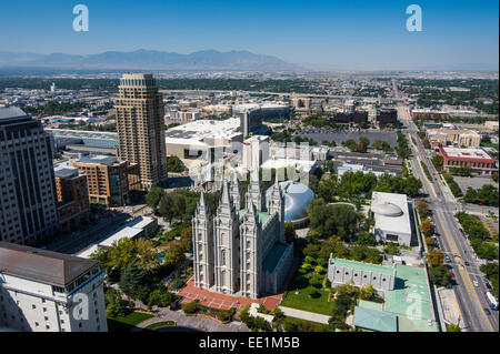 Overlook over Salt Lake City and the Mormon Assembly Hall, Salt Lake City, Utah, United States of America, North - Stock Photo