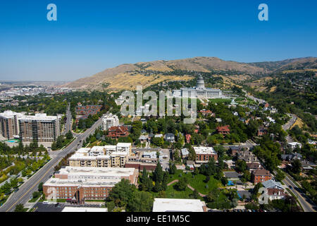 View over the Utah State Capitol and Salt Lake City, Utah, United States of America, North America - Stock Photo