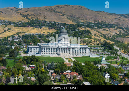 View over the Utah State Capitol, Salt Lake City, Utah, United States of America, North America - Stock Photo