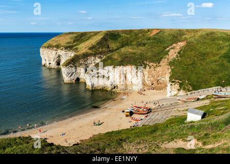 Flamborough's North Landing on a summer's afternoon - Stock Photo