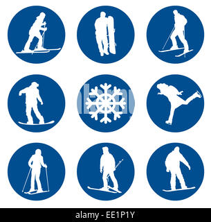 Ski resort vector silhouettes collection. EPS 10. - Stock Photo