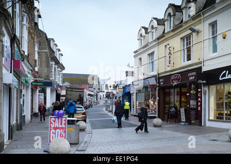 A cold winter's day in Newquay Town Centre, Cornwall, England, UK. - Stock Photo