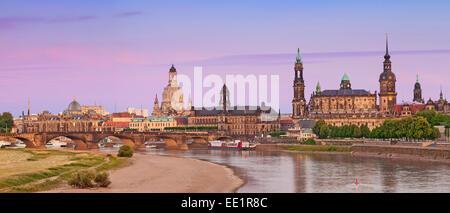 Dresden. Panoramic image of Dresden during summer sunset. - Stock Photo