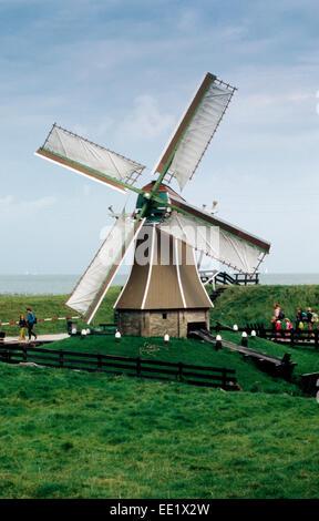 Netherlands, Enkhuizen, Zuiderzeemuseum, Zuiderzee Open Air Museum,  Windmill - Stock Photo