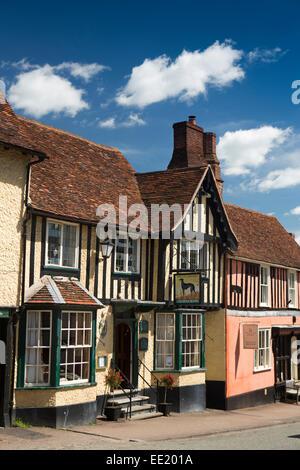 UK England, Suffolk, Lavenham, High Street, The Greyhound Inn - Stock Photo
