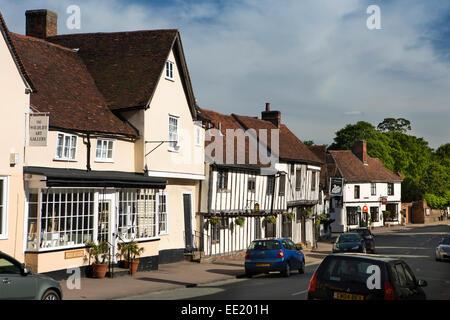 UK England, Suffolk, Lavenham, High Street, Wildlife Gallery and Swan Hotel - Stock Photo