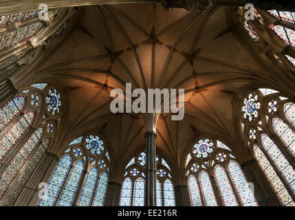 Decorative Roof and Stained Glass Windows Of Chapter House Salisbury Cathedral Wiltshire UK which house an original - Stock Photo