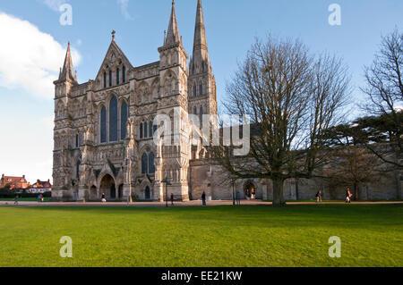 Exterior Of Salisbury Cathedral Wiltshire England UK - Stock Photo