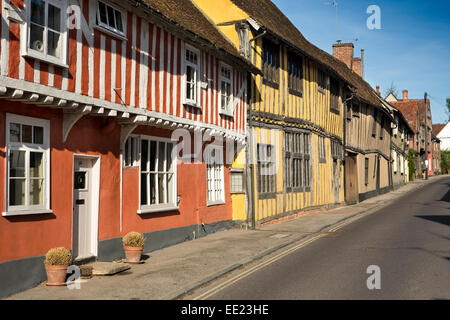 UK England, Suffolk, Lavenham, Water Street, medieval timber framed houses - Stock Photo