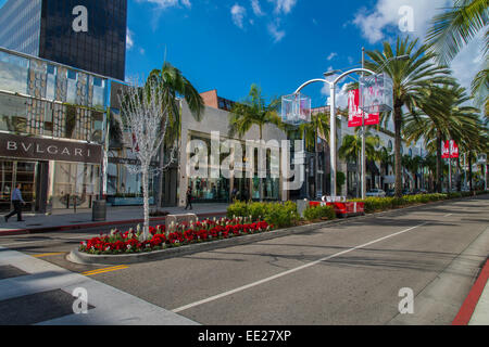 Elegant and trendy shops along Rodeo Drive, Beverly Hills, Los Angeles, California, USA - Stock Photo
