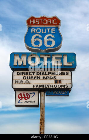 Vintage motel sign along the historic U.S. Route 66, Seligman, Arizona, USA - Stock Photo