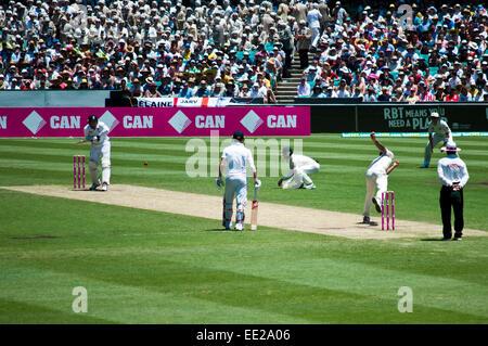 SYDNEY,AUSTRALIA - JANUARY 4: Australias Nathan Lyon bowls on the last Ashes Test match at Sydney Cricket Ground,Australia - Stock Photo