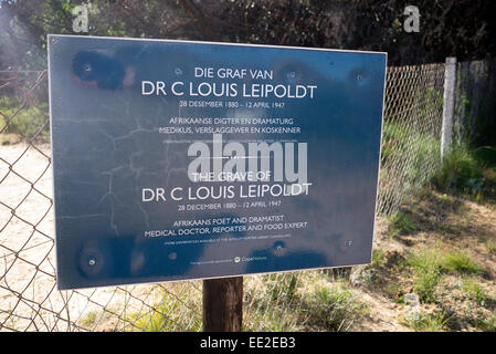 Sign to the grave of Dr. Christian Frederik Louis Leipoldt at Pakhuis Pass (Storehouse Pass), near Clanwilliam, - Stock Photo
