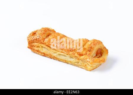 Sausage roll - savoury pastry snack - Stock Photo
