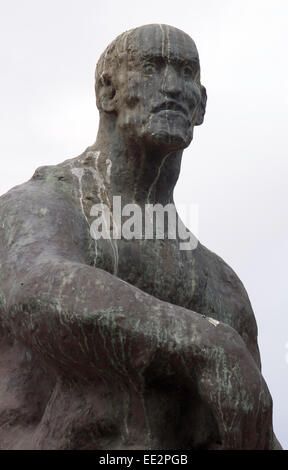 The statue of Jan Smuts in The Company's Garden, Cape Town, South Africa, with a pale sky in the background, and - Stock Photo