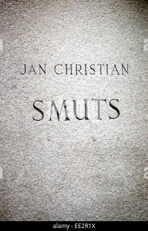 The engraved name on the base of the statue of Jan Smuts in The Company's Garden in Cape Town, South Africa. - Stock Photo