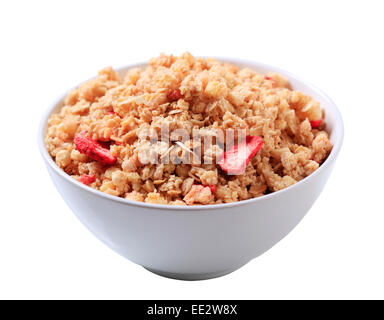 Bowl of strawberry almond granola cereal - Stock Photo