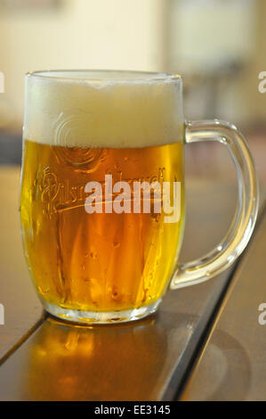 Pint of Pilsner Urquell lager - Stock Photo