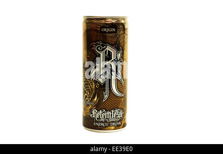 Close-up of a can of Relentless energy drink - Stock Photo
