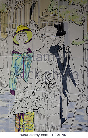 walking at Ascot painted on tiles in London - Stock Photo