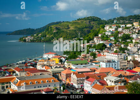View over Saint Georges, Grenada, West Indies - Stock Photo
