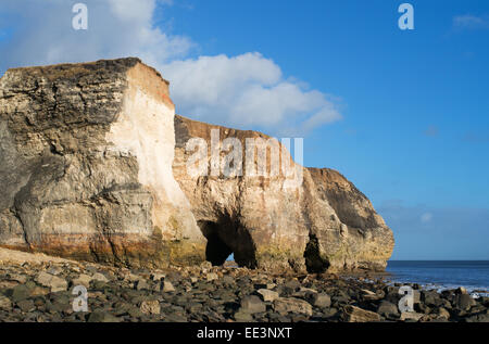 Magnesium or magnesian limestone cliffs and caves at Nose's Point, Seaham, north east England, UK - Stock Photo