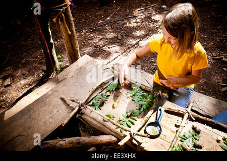 Girl crafting in a forest camp, Munich, Bavaria, Germany - Stock Photo