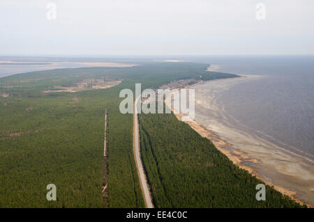 Aerial shot of the western coast of the Gulf of Riga, Baltic Sea - Stock Photo