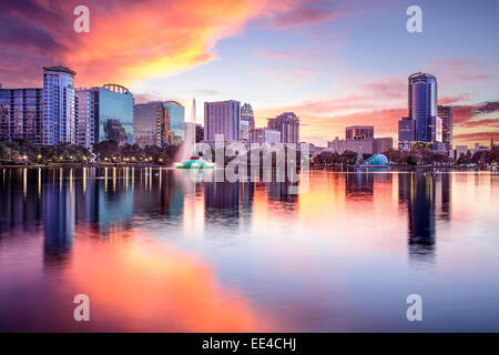 Orlando, Florida, USA downtown city skyline from Eola Park. - Stock Photo