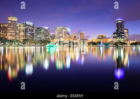 Orlando, Florida, USA downtown skyline at Eola Lake. - Stock Photo