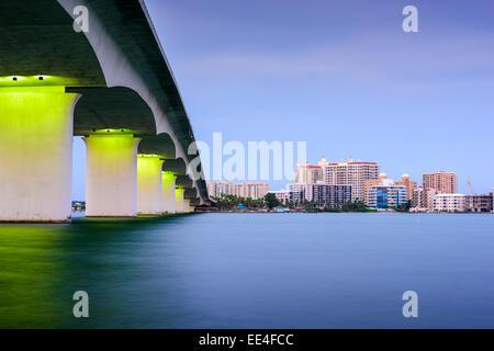 Sarasota, Florida, USA skyline at Sarasota Bay. - Stock Photo