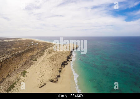 Aerial view on sand dunes in Verandinha beach in Boavista Cape Verde - Cabo Verde - Stock Photo