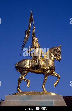 Arc Europe Ltd >> Statue of Joan of Arc riding horse Chinon Indre-et-Loire Central Stock Photo, Royalty Free Image ...