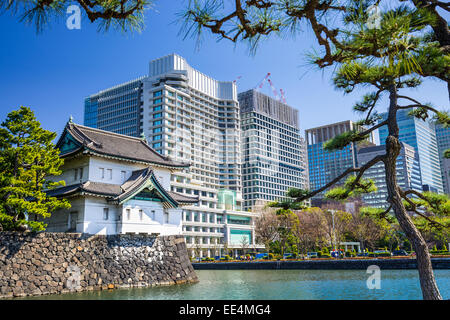 Tokyo, Japan at the Imperial Palace moat tower. - Stock Photo