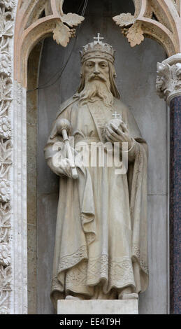 Statue of St. Stephen the king on the portal of the Zagreb cathedral - Stock Photo
