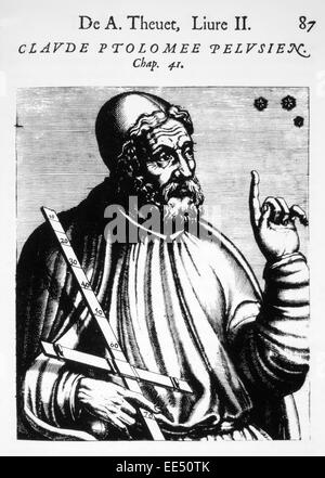 Claudius Ptolemy (90-168 AD), Greco-Egyptian Mathematician and Astronomer, Woodcut from 'Les Vrais Pourtraits et - Stock Photo