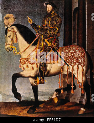 Francis I (1494-1547), King of France (1515-47), Portrait on Horse by Jean Clouet, circa 1540 - Stock Photo