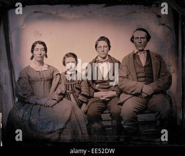 Family Portrait, Parents with Two Children, Daguerreotype, circa 1850's - Stock Photo