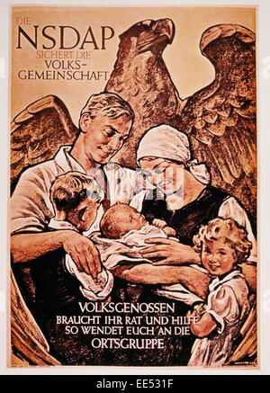 Family in Front of Eagle, Nazi Party (NSDAP) Political Poster, Germany, 1936 - Stock Photo