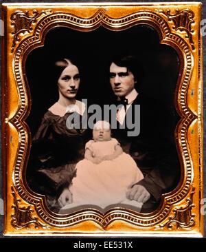 Couple with Infant, Portrait, Daguerreotype, circa 1850's - Stock Photo