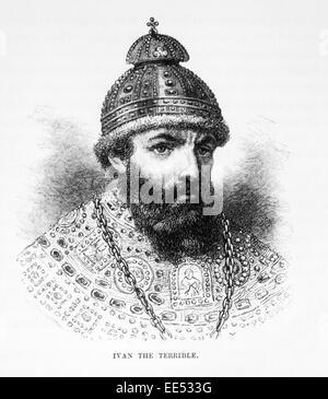 Ivan IV (1530-1584) or Ivan the Terrible, Czar of Russia, 1547-1584, Portrait, Engraving, 1886 - Stock Photo