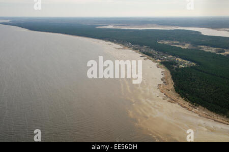 Aerial shot of the western coast of the Gulf of Riga, Baltic Sea - Stock Photo