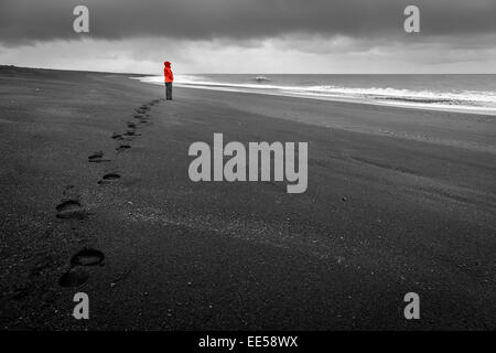 A woman is watching the waves on a black sand beach in the south of Iceland - Stock Photo
