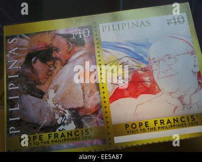 Rare souvenir sheet special coinage stamp in honor of the upcoming official state visit of Pope Francis and four - Stock Photo