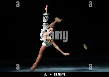 Frankfurt, German. 13th Jan, 2015. Annette Dytrt performs during the Passion ice show by Holiday on Ice in Festhalle - Stock Photo