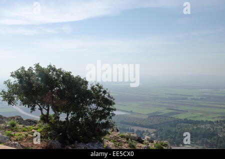 Israel, Lower Galilee, Mount Precipice overlooking Jezreel Valley - Stock Photo