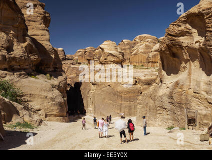 View along the Siq on the way to Petra, Jordan - Stock Photo