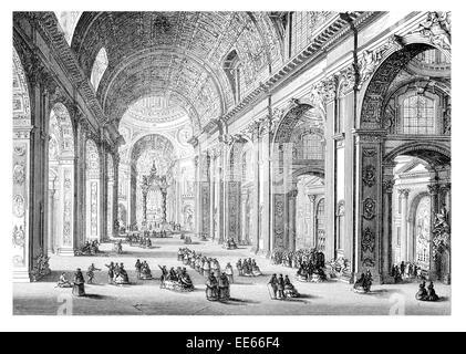 St. Peter's Basilica Giovanni Paolo Panini Basilica di San Pietro in Vaticano Late Renaissance church Vatican City - Stock Photo