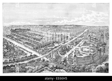 Birds eye aerial view Paris International Exhibition 1878  World's Fair Exposition Universelle France Palais du - Stock Photo