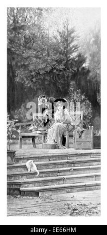 A prior attachment Marcus Stone botanical garden park bench couple relationship cat victorian period costume dress - Stock Photo